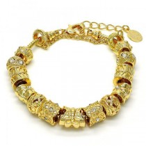 Gold Filled Fancy Bracelet Butterfly and Flower Design Golden Tone With White Crystal