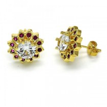 Gold Filled Stud Earring Flower Design Golden Tone With Red Cubic Zirconia
