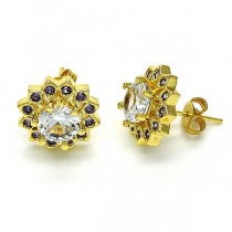 Gold Filled Stud Earring Flower Design Golden Tone With Purple Cubic Zirconia