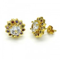 Gold Filled Stud Earring Flower Design Golden Tone With Muticolor Cubic Zirconia