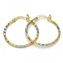 Gold Filled Tri Tone Medium Hoop Earrings 70 Millimeters