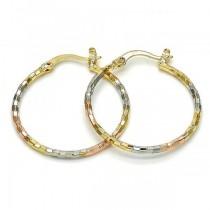 Gold Filled Tri Tone Medium Hoop Earrings 30 Millimeters