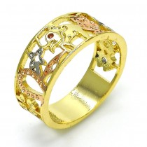 Gold Filled Multi Stone Ring Elephant Design With Crystal Golden Tone