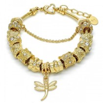 Gold Filled Charm Bracelet Dragon-Fly and Heart Design Golden Tone With White Crystal