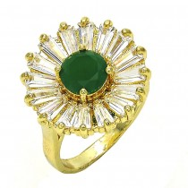 Gold Filled Multi Stone Ring Flower Design With Cubic Zirconia Golden Tone