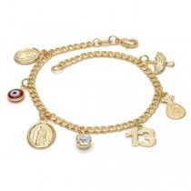 Gold Filled Charm Bracelet Guadalupe and Greek Eye Design With White Cubic Zirconia & Red Resin Finish Golden Tone