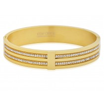 Stainless Steel Gold Tone Ladies Bangle With 2 Rows CZ Stones