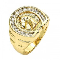 Gold Filled Mens Ring Horse Design Golden Tone With Cubic Zirconia