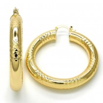 Gold Filled Medium Hoop Earrings Hollow Design Golden Tone 50mm