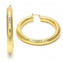 Gold Filled Medium Hoop Earrings Hollow Design Golden Tone 60mm