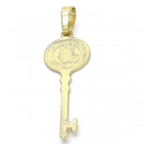 Gold Filled Fancy Pendant key and San Benito Design Polished Finish Golden Tone