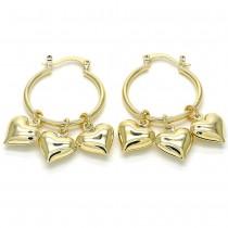 Gold Filled Heart Hoop Earrings Polished Finish Golden Tone