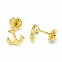 Gold Filled Stud Earring Anchor Design Polished Finish Golden Tone