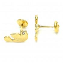 Gold Filled Stud Earring Bird Design Polished Finish Golden Tone