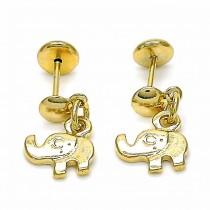 Gold Filled Stud Earring Elephant Design Polished Finish Golden Tone