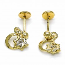 Gold Filled Stud Earring Moon and Star Design With Cubic Zirconia Polished Finish Golden Tone