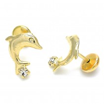 Gold Filled Stud Earring Dolphin Design With Cubic Zirconia Polished Finish Golden Tone