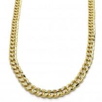 "Gold Filled 24"" Basic Necklace Concave Cuban Design Polished Finish Golden Tone"