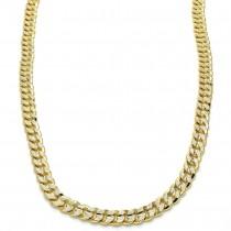 "Gold Filled 24"" Basic Necklace Miami Cuban Design Polished Finish Golden Tone"