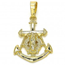 Gold Filled Fancy Pendant Anchor and Guadalupe Design Polished Finish Golden Tone