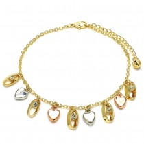 """Gold Filled 10"""" Charm Anklet Heart Design With White Crystal Polished Finish Tri Tone"""