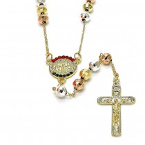 Gold Filled Medium Rosary San Benito and Crucifix Design With Crystal Tri Tone