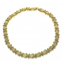 Gold Filled Fancy Anklet Flower Design Polished Finish Golden Tone