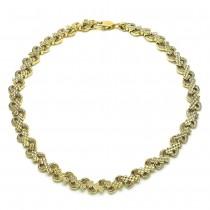 Gold Filled Fancy Anklet Heart Design Polished Finish Golden Tone