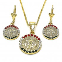 Gold Filled Earring and Pendant Adult Set San Benito Design With Multicolor Crystal Polished Finish Golden Tone