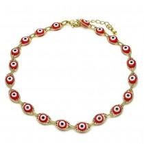 Gold Filled Fancy Anklet Greek Eye Design Red Resin Finish Golden Tone