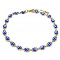 Gold Filled Fancy Anklet Greek Eye Design Blue Resin Finish Golden Tone