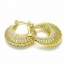 Gold Filled Small Hoop Hollow Design Polished Finish Golden Tone