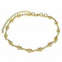 Gold Filled Fancy Anklet Mariner Design Polished Finish Golden Tone
