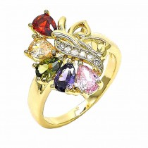 Gold Filled Multi Stone Ring Teardrop and Heart Design With Cubic Zirconia Golden Tone