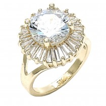 Gold Layered Multi Stone Ring With Cubic Zirconia Golden Tone