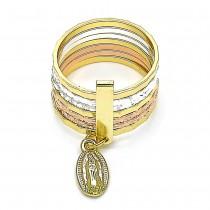 Gold Filled Elegant Ring Semanario and Guadalupe Design Tri Tone