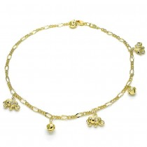 Gold Filled Charm Anklet Elephant and Rattle Charm Design Polished Finish Golden Tone
