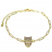 Gold Filled Fancy Anklet Owl and Paperclip Design With Multicolor Micro Pave Polished Finish Golden Tone