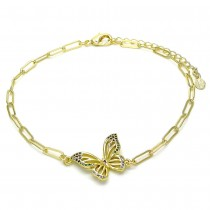 Gold Filled Fancy Anklet Butterfly and Paperclip Design With White Micro Pave Polished Finish Golden Tone