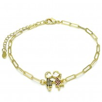 Gold Filled Fancy Anklet Little Boy and Little Girl Design With Black and Ruby Micro Pave Polished Finish Golden Tone