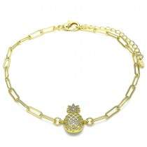 """Gold Filled Paper Clip & Pineapple Design Ankle Bracelet With White CZ 10"""""""