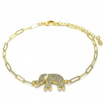 Gold Filled Fancy Anklet Elephant and Paperclip Design With White Micro Pave Polished Finish Golden Tone