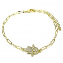Gold Filled Fancy Hand and Paperclip Design With White Micro Pave Polished Finish Golden Tone