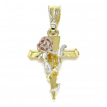 Gold Filled Fancy Pendant Cross and Flower Design Polished Finish Tri Tone