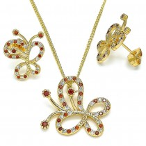 Gold Filled Earring and Pendant Set Butterfly Design With Garnet and White Cubic Zirconia Polished Finish Golden Tone