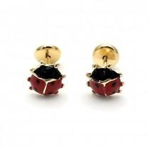 Gold Filled Stud Earring Ladybug Design Polished Finish Golden Tone