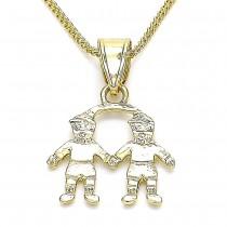 Gold Filled Pendant Necklace Little Boy Design Polished Finish Golden Tone