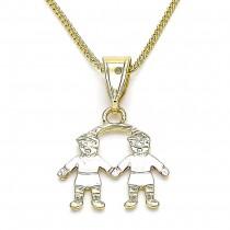 Gold Filled Pendant Necklace Little Boy Design Polished Finish Tri Tone