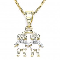 Gold Filled Pendant Necklace Little Girl Design Polished Finish Tri Tone