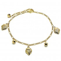 Gold Charm Anklet Strawberry and Rattle Charm Design Polished Finish Golden Tone